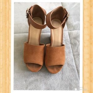 Suede tan colored wedges